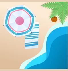 summer beach blue umbrella beach mat background ve vector image