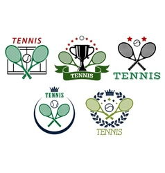Tennis sport symbols and emblems vector