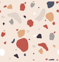 Terrazzo seamless pattern with motley rock vector