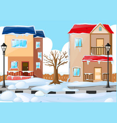 Two houses covered by the snow vector