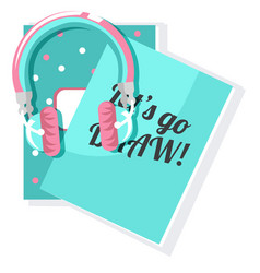 two sketchbook notebooks and headphones vector image