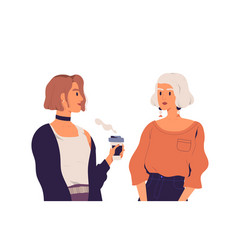 Two young women talking and drinking coffee vector