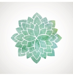 Watercolor flower in green blue colors vector image