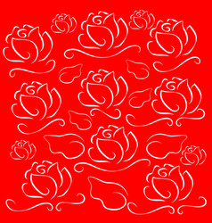 white lines roses on red background vector image