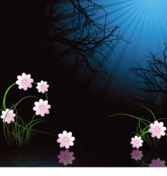 Winter midnight flowers vector