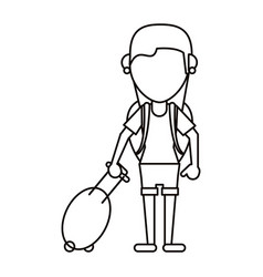 young girl tourist with backpack and suitcase thin vector image