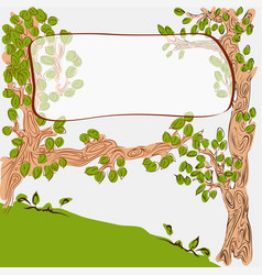 cartoon cute trees with banner on branch vector image vector image