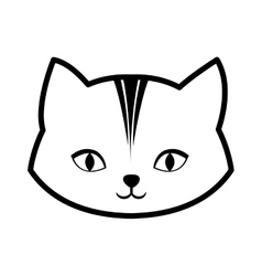 face cat feline curious small outline vector image vector image