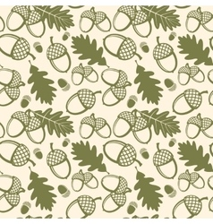 Oak leaves and acorns seamless pattern vector image vector image