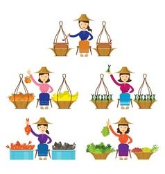 Thailand Women Street Food Seller Set vector image vector image