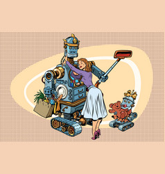 vintage retro family dad robot wife and child vector image