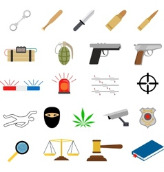 Crime icons in flat colors style vector image vector image
