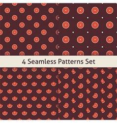 Four Flat Seamless Music Vinyl Disc Patterns Set vector image