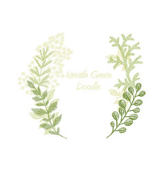 green scribble branch frame card template vector image vector image