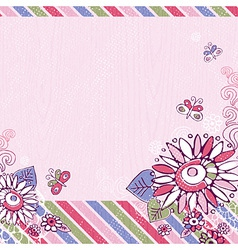 hand draw flowers and butterfly on pink background vector image vector image
