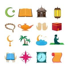 Islam icons set vector