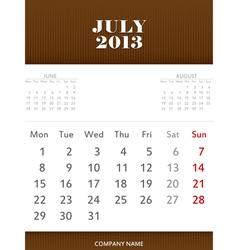 July 2013 calendar design vector image vector image