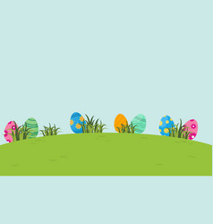 On the hill easter egg of landscape vector