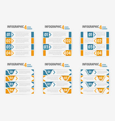 Set of info-graphic four steps horizontal banner vector