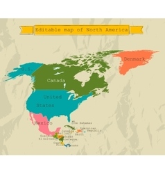 Editable south america map with all countries vector
