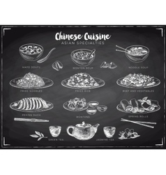 hand drawn with chinese food vector image vector image