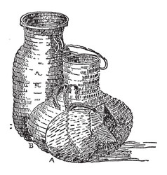 native american baskets iroquois vessel of vector image vector image