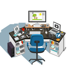 Photographer workplace vector