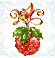 ribbon in the shape of 2016 and holly ball vector image