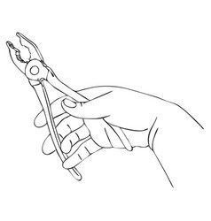 hand with pliers vector image vector image