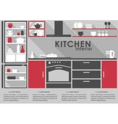 Kitchen Interior flat design with long shadows vector image