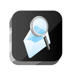 3d button with open letter and magnifying vector