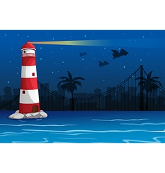 A bright lighthouse in the middle of the sea vector image