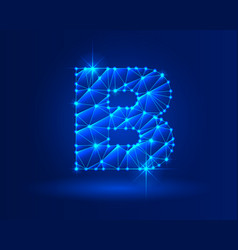 Abstract glowing letter b on dark blue background vector