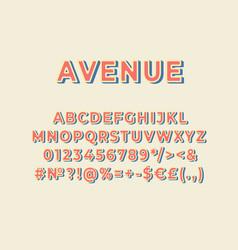Avenue vintage 3d alphabet set vector