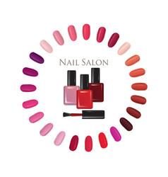 Beauty salon background nail polish palette vector