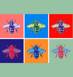 Bee modern art hand drawn sketch vector