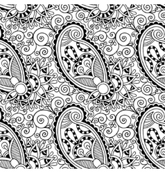 Black and white ornate seamless flower paisley vector