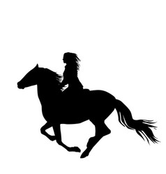 Black silhouette of a woman rider a running horse vector