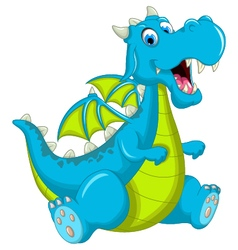 Blue dragon cartoon sitting vector