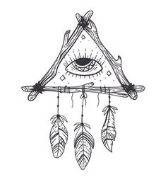 boho dream eye catcher hand drawn doodle design vector image