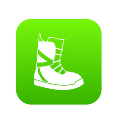 boot for snowboarding icon digital green vector image
