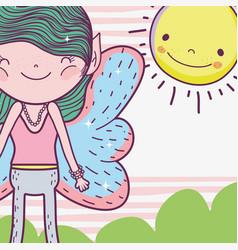 Boy fairy fantastic creature with happy sun vector