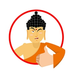 Buddha Thumbs up and winks Indian god Sign all vector image