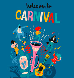 carnival with funny men and vector image
