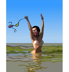 cartoon cheerful woman standing topless in the vector image