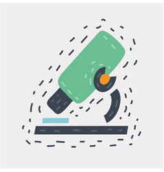 Cartoon microscope icon on vector