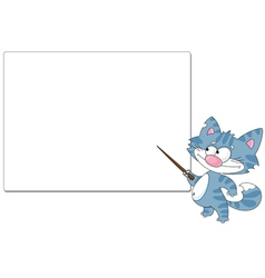 Cat with a pointer and blank vector