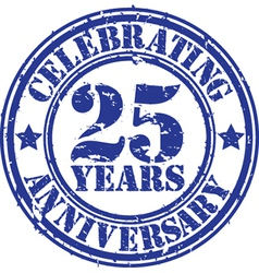 Celebrating 25 years anniversary grunge rubber sta vector image
