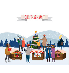 christmas fair market on town anthropomorphic set vector image