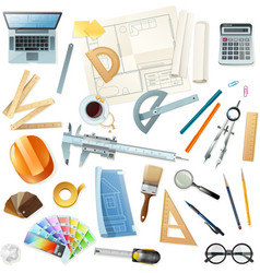 Construction Architect Tools Set vector image